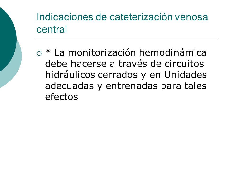 Indicaciones de cateterización venosa central  * La monitorización hemodinámica debe hacerse a través de circuitos hidráulicos cerrados y en Unidades