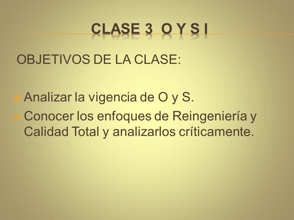 OBJETIVOS DE LA CLASE:  Analizar la vigencia de O y S.