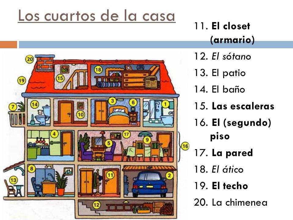 Los cuartos de la casa 11. El closet (armario) 12. El sótano 13. El patio 14. El baño 15. Las escaleras 16. El (segundo) piso 17. La pared 18. El átic