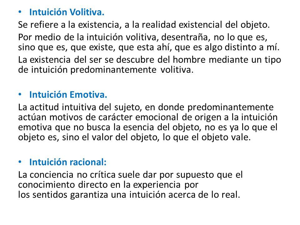 Intuición Volitiva.Se refiere a la existencia, a la realidad existencial del objeto.