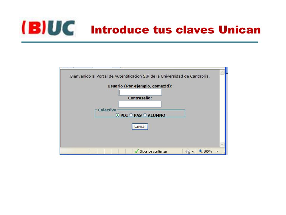 Introduce tus claves Unican