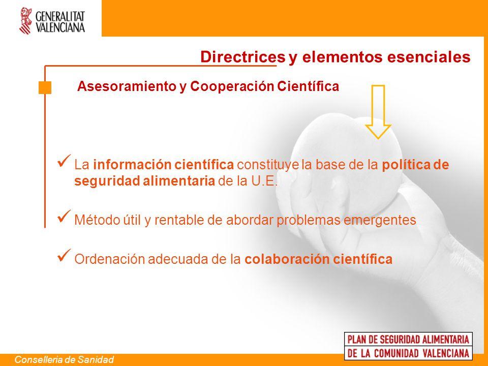 Asesoramiento y Cooperación Científica Conselleria de Sanidad La información científica constituye la base de la política de seguridad alimentaria de