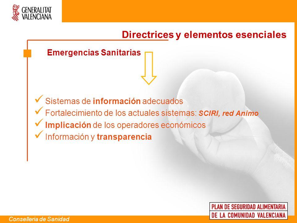 Emergencias Sanitarias Conselleria de Sanidad Sistemas de información adecuados Fortalecimiento de los actuales sistemas: SCIRI, red Animo Implicación
