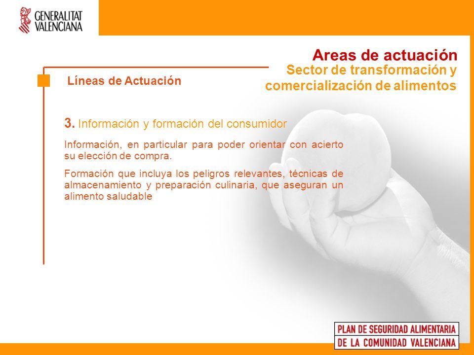 Areas de actuación 3. Información y formación del consumidor Información, en particular para poder orientar con acierto su elección de compra. Formaci