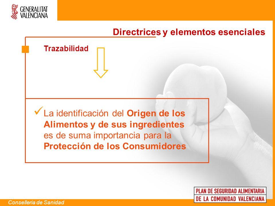 Trazabilidad Conselleria de Sanidad La identificación del Origen de los Alimentos y de sus ingredientes es de suma importancia para la Protección de l
