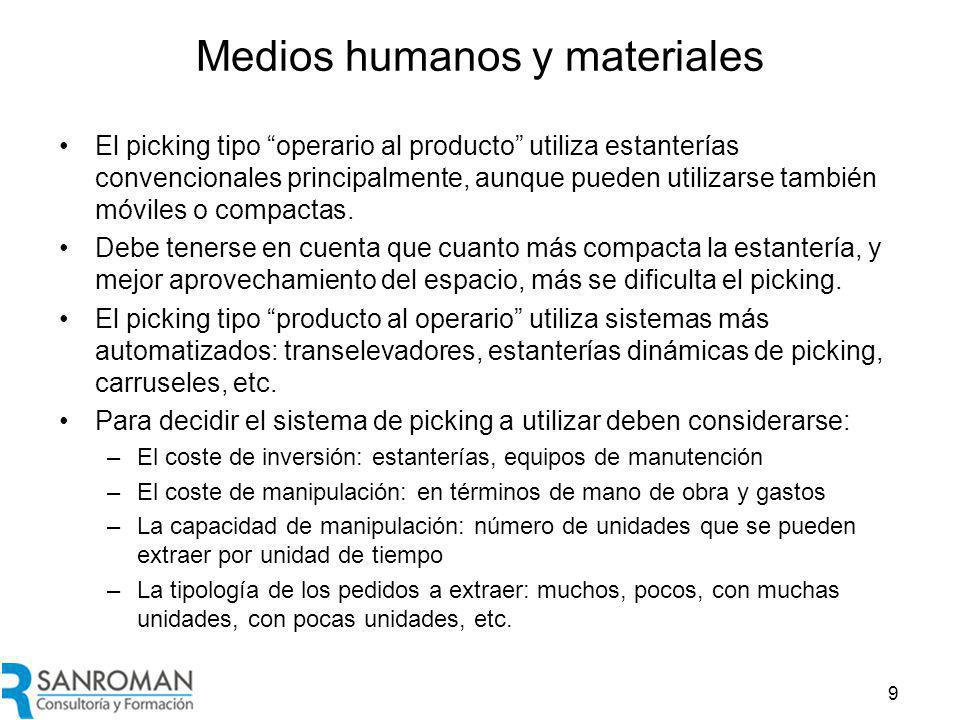 Medios humanos y materiales El picking tipo operario al producto utiliza estanterías convencionales principalmente, aunque pueden utilizarse también móviles o compactas.