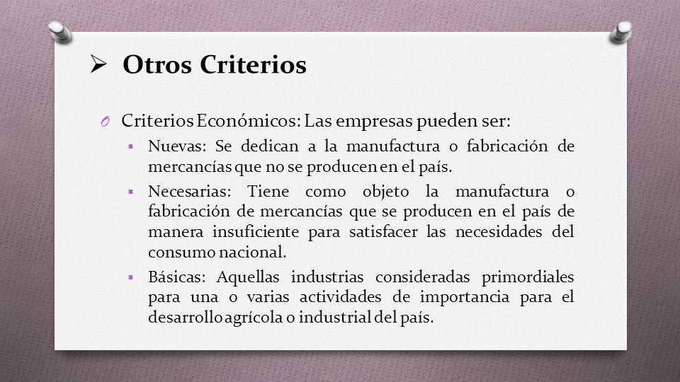 Otros Criterios O Criterios Económicos: Las empresas pueden ser:  Nuevas: Se dedican a la manufactura o fabricación de mercancías que no se producen en el país.