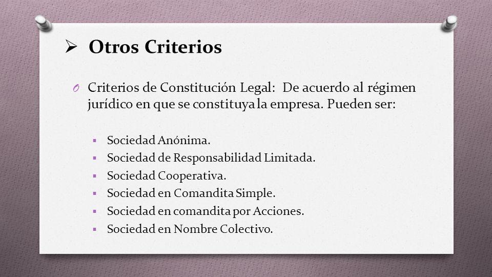  Otros Criterios O Criterios de Constitución Legal: De acuerdo al régimen jurídico en que se constituya la empresa.