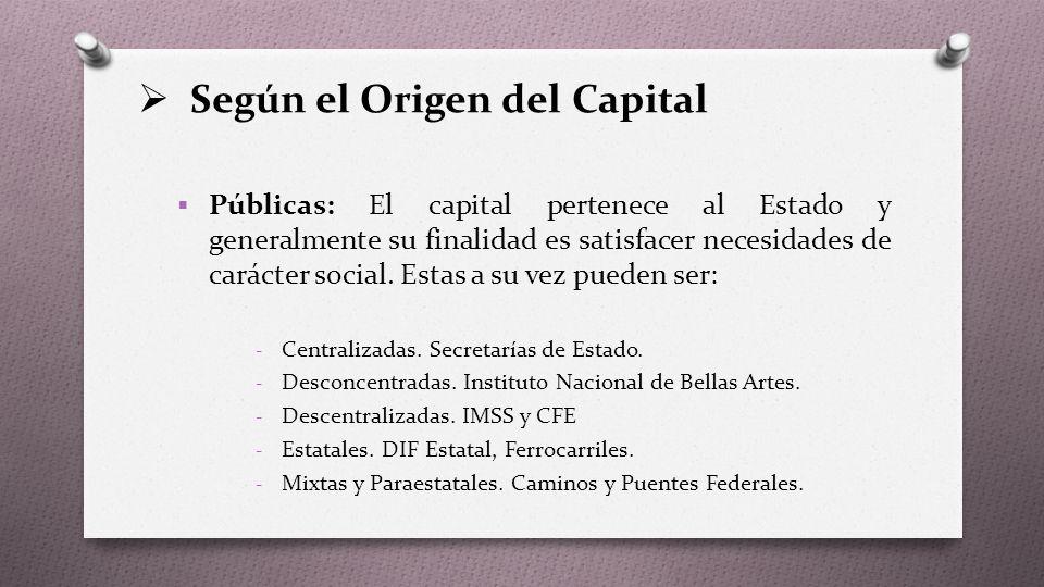  Según el Origen del Capital  Públicas: El capital pertenece al Estado y generalmente su finalidad es satisfacer necesidades de carácter social.