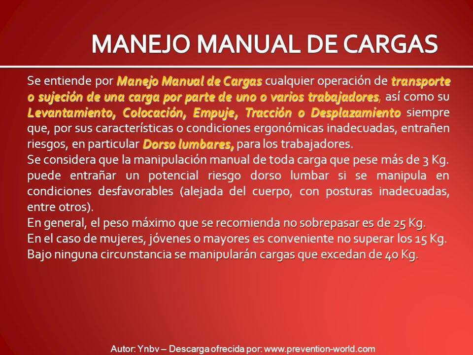 Autor: Ynbv – Descarga ofrecida por: www.prevention-world.com Manejo Manual de Cargas transporte o sujeción de una carga por parte de uno o varios tra