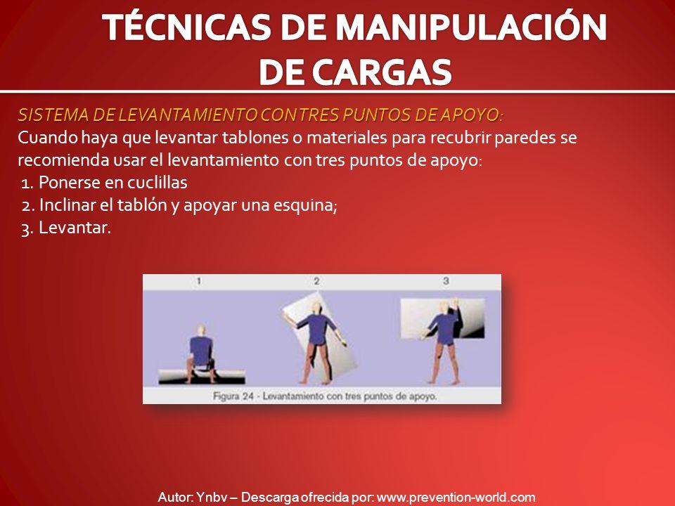 Autor: Ynbv – Descarga ofrecida por: www.prevention-world.com SISTEMA DE LEVANTAMIENTO CON TRES PUNTOS DE APOYO: Cuando haya que levantar tablones o m