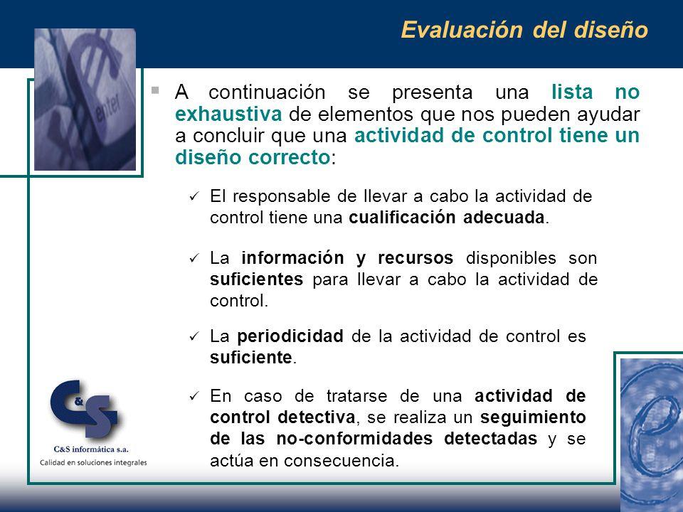 Evaluación del diseño (cont.) El riesgo de que puedan no operar efectivamente (cambio en volumen de la transacción, personal que la ejecuta, etc).