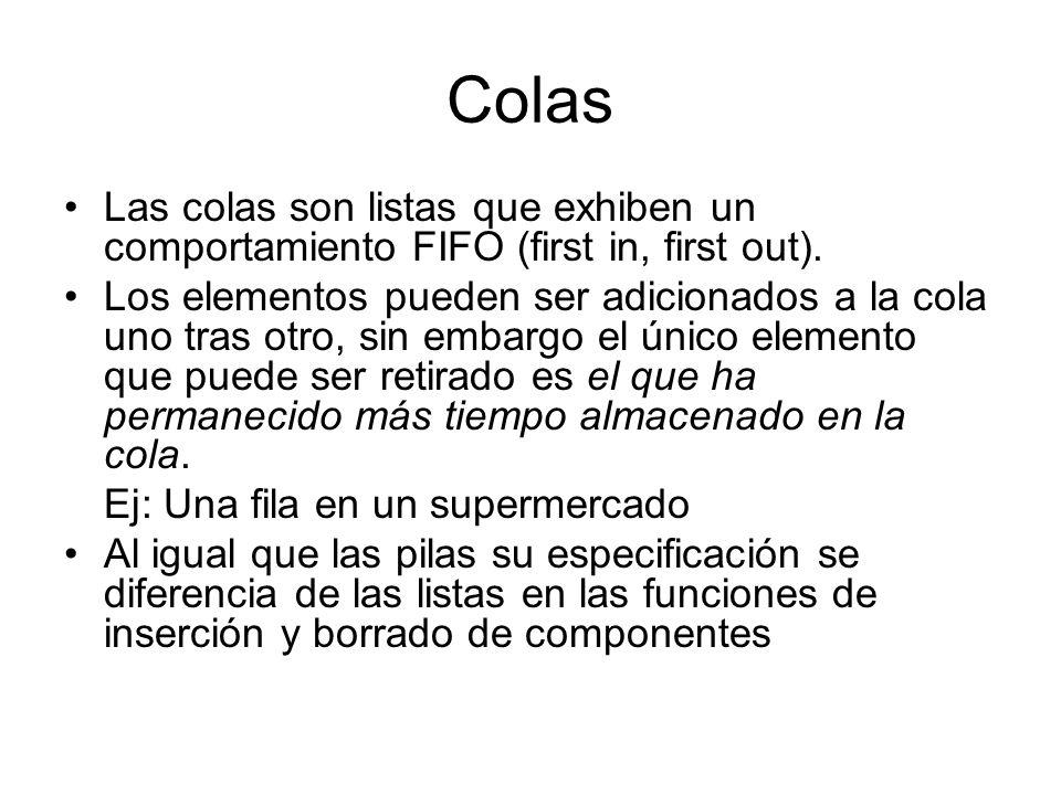 Colas Las colas son listas que exhiben un comportamiento FIFO (first in, first out).
