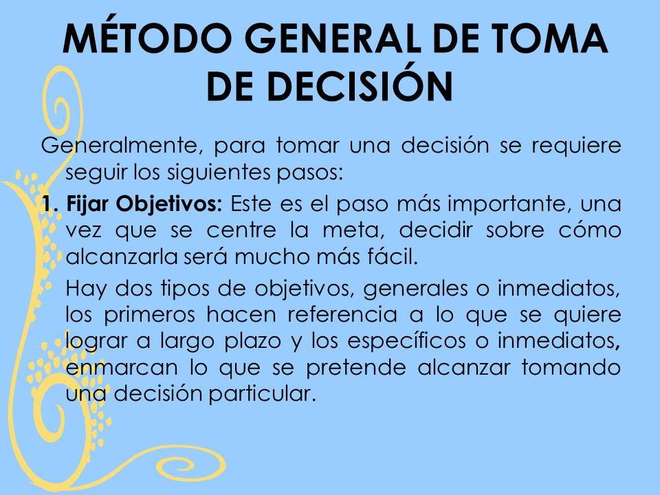 MÉTODO GENERAL DE TOMA DE DECISIÓN Generalmente, para tomar una decisión se requiere seguir los siguientes pasos: 1.
