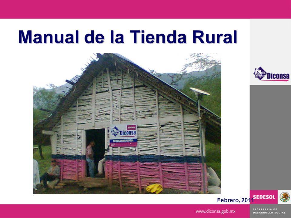 Comité Rural de Abasto El Manual de la Tienda Rural tiene como propósito apoyar y orientar las actividades del Encargado de Tienda y del Comité Rural de Abasto, sobre la operación y administración de la Tienda Rural y las relaciones de coordinación entre la Comunidad y DICONSA.