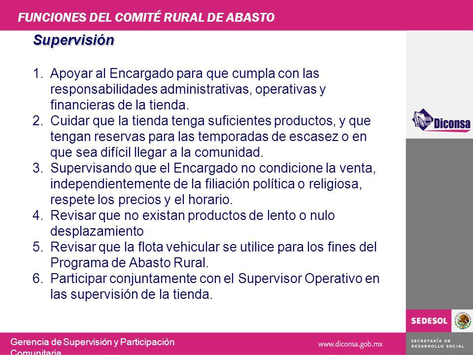 FUNCIONES DEL COMITÉ RURAL DE ABASTO Gerencia de Supervisión y Participación Comunitaria Supervisión 1.Apoyar al Encargado para que cumpla con las res