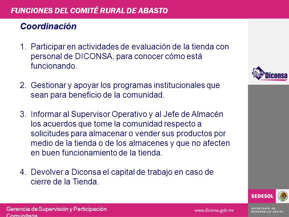 FUNCIONES DEL COMITÉ RURAL DE ABASTO Gerencia de Supervisión y Participación Comunitaria Coordinación 1.Participar en actividades de evaluación de la