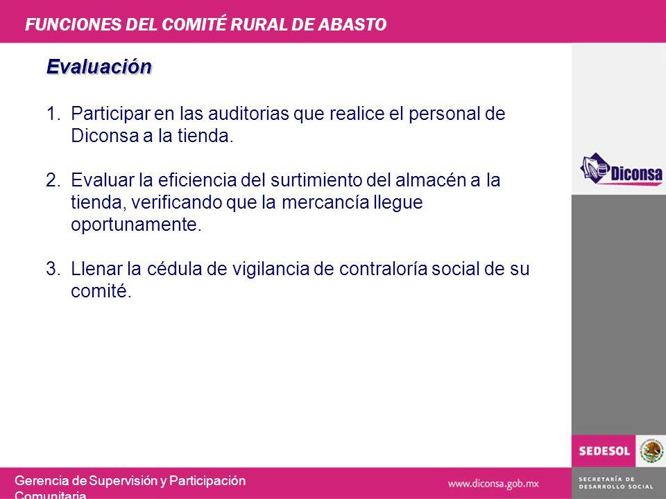 FUNCIONES DEL COMITÉ RURAL DE ABASTO Gerencia de Supervisión y Participación Comunitaria Evaluación 1.Participar en las auditorias que realice el pers
