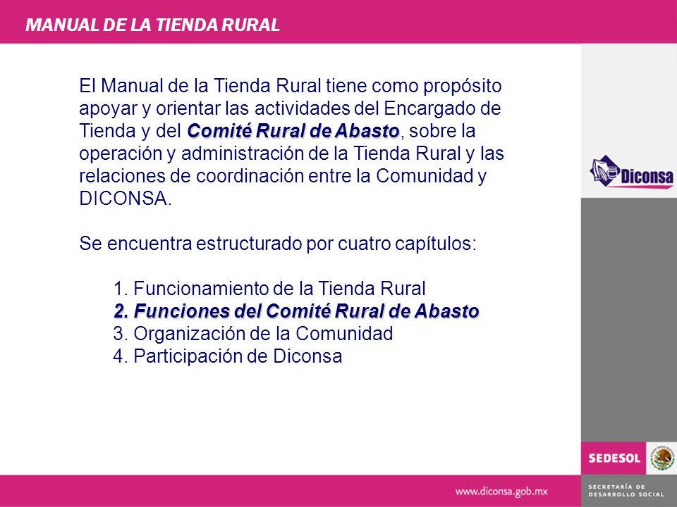 FUNCIONAMIENTO DE LA TIENDA RURAL La tienda es el lugar donde se concreta el servicio de abasto a la comunidad, mediante productos básicos y complementarios surtidos por el Almacén Rural Gerencia de Supervisión y Participación Comunitaria