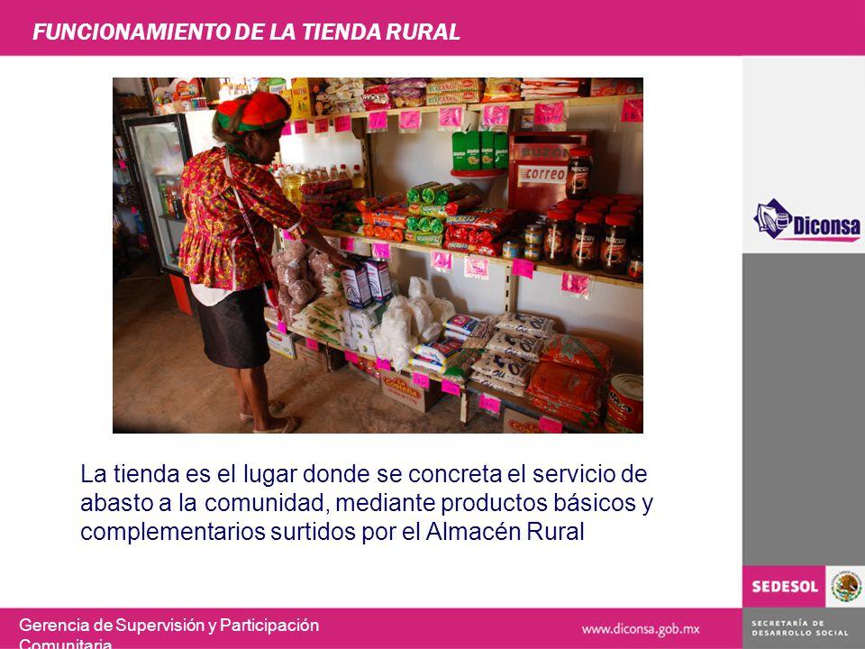 FUNCIONAMIENTO DE LA TIENDA RURAL La tienda es el lugar donde se concreta el servicio de abasto a la comunidad, mediante productos básicos y complemen