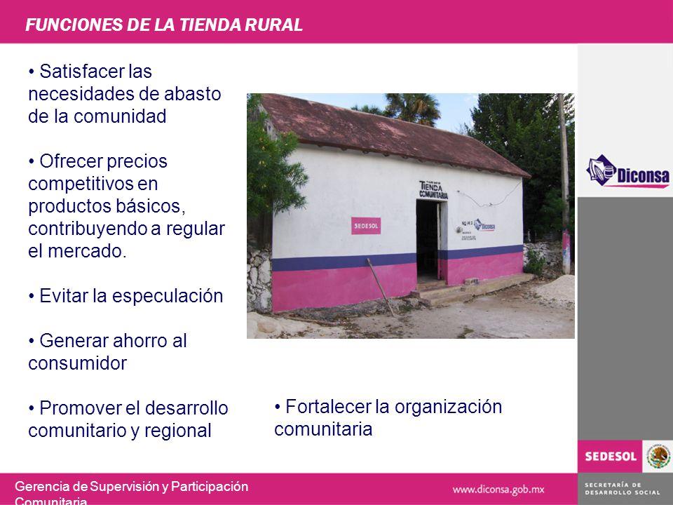 FUNCIONES DE LA TIENDA RURAL Gerencia de Supervisión y Participación Comunitaria Satisfacer las necesidades de abasto de la comunidad Ofrecer precios