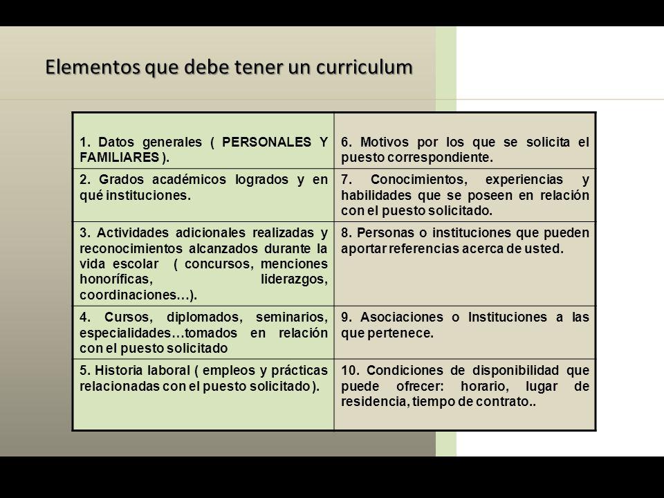 Elementos que debe tener un curriculum 1. Datos generales ( PERSONALES Y FAMILIARES ). 6. Motivos por los que se solicita el puesto correspondiente. 2