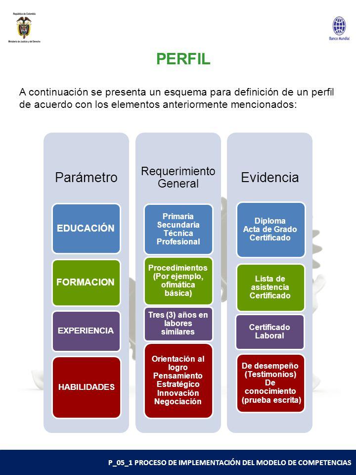 P_05_1 PROCESO DE IMPLEMENTACIÓN DEL MODELO DE COMPETENCIAS PERFIL A continuación se presenta un esquema para definición de un perfil de acuerdo con los elementos anteriormente mencionados: Parámetro EDUCACIÓN FORMACION EXPERIENCIA HABILIDADES Requerimiento General Primaria Secundaria Técnica Profesional Procedimientos (Por ejemplo, ofimática básica) Tres (3) años en labores similares Orientación al logro Pensamiento Estratégico Innovación Negociación Evidencia Diploma Acta de Grado Certificado Lista de asistencia Certificado Certificado Laboral De desempeño (Testimonios) De conocimiento (prueba escrita)
