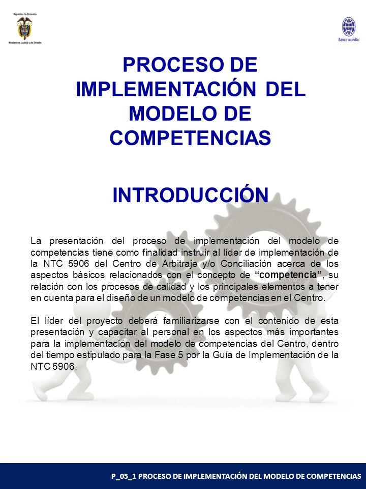 P_05_1 PROCESO DE IMPLEMENTACIÓN DEL MODELO DE COMPETENCIAS INTRODUCCIÓN La presentación del proceso de implementación del modelo de competencias tiene como finalidad instruir al líder de implementación de la NTC 5906 del Centro de Arbitraje y/o Conciliación acerca de los aspectos básicos relacionados con el concepto de competencia , su relación con los procesos de calidad y los principales elementos a tener en cuenta para el diseño de un modelo de competencias en el Centro.