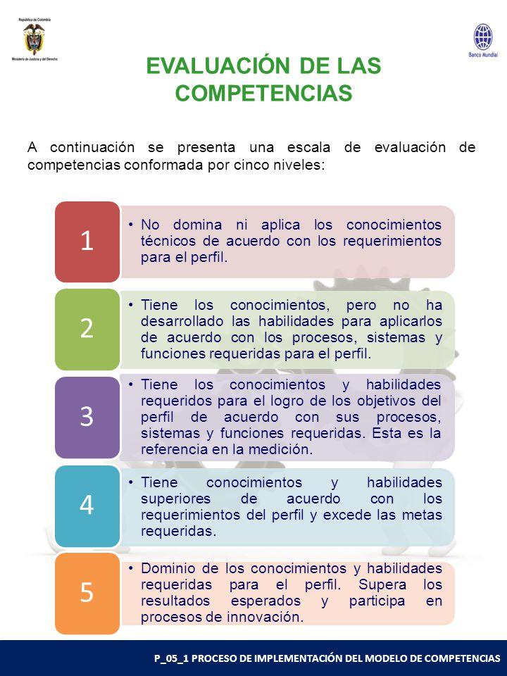 P_05_1 PROCESO DE IMPLEMENTACIÓN DEL MODELO DE COMPETENCIAS EVALUACIÓN DE LAS COMPETENCIAS No domina ni aplica los conocimientos técnicos de acuerdo con los requerimientos para el perfil.