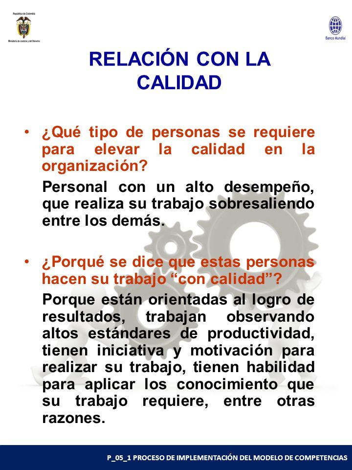 P_05_1 PROCESO DE IMPLEMENTACIÓN DEL MODELO DE COMPETENCIAS RELACIÓN CON LA CALIDAD ¿Qué tipo de personas se requiere para elevar la calidad en la organización.