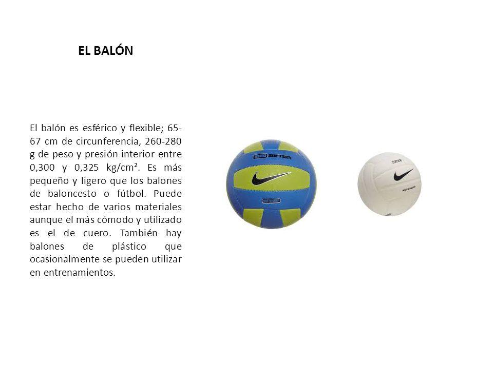 EL BALÓN El balón es esférico y flexible; 65- 67 cm de circunferencia, 260-280 g de peso y presión interior entre 0,300 y 0,325 kg/cm². Es más pequeño