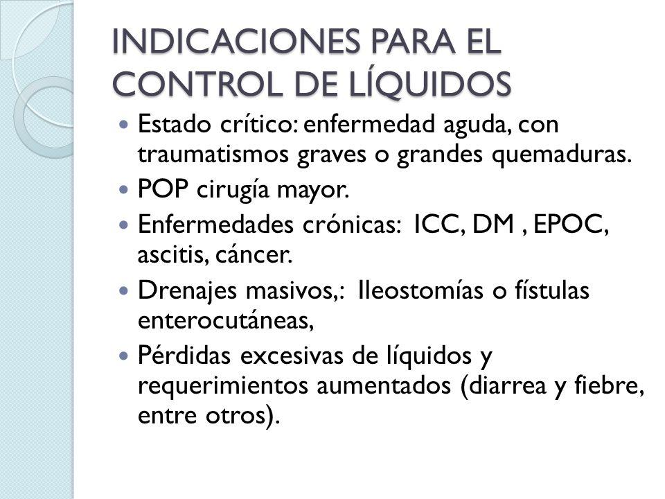 INDICACIONES PARA EL CONTROL DE LÍQUIDOS Estado crítico: enfermedad aguda, con traumatismos graves o grandes quemaduras. POP cirugía mayor. Enfermedad