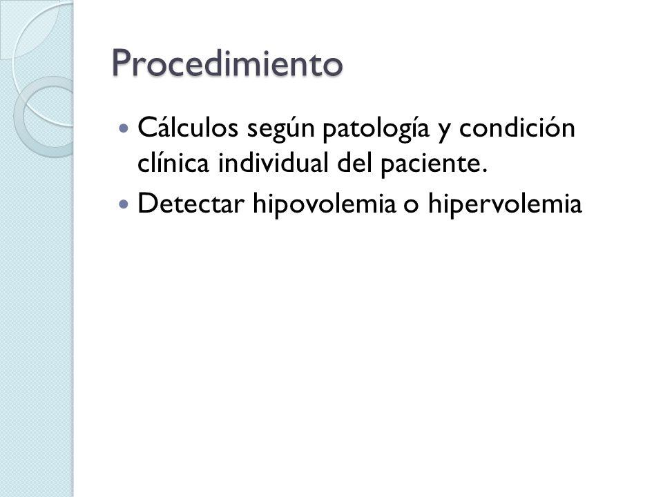 Procedimiento Cálculos según patología y condición clínica individual del paciente. Detectar hipovolemia o hipervolemia