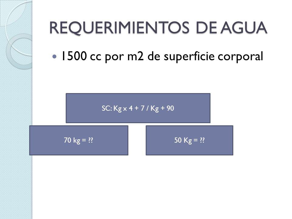 REQUERIMIENTOS DE AGUA 1500 cc por m2 de superficie corporal SC: Kg x 4 + 7 / Kg + 90 70 kg = ??50 Kg = ??