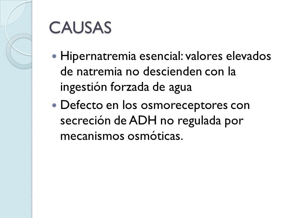 CAUSAS Hipernatremia esencial: valores elevados de natremia no descienden con la ingestión forzada de agua Defecto en los osmoreceptores con secreción