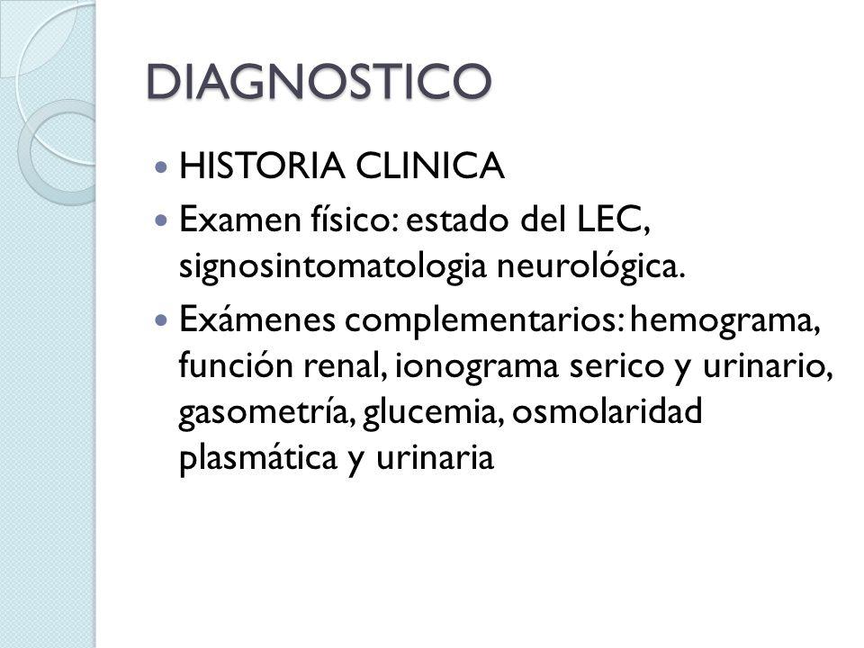 DIAGNOSTICO HISTORIA CLINICA Examen físico: estado del LEC, signosintomatologia neurológica. Exámenes complementarios: hemograma, función renal, ionog