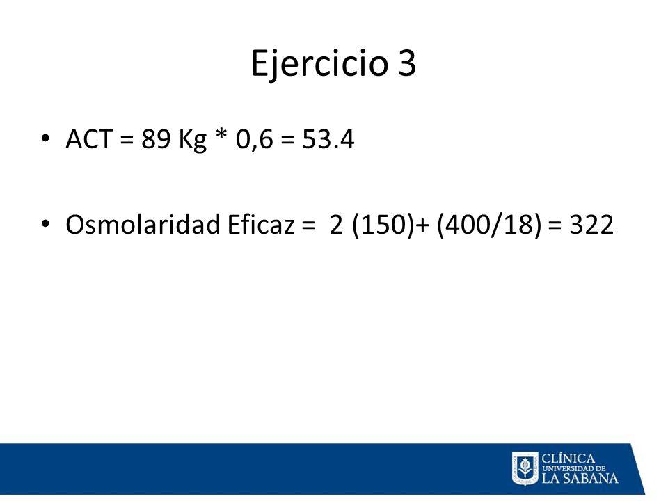 Ejercicio 3 ACT = 89 Kg * 0,6 = 53.4 Osmolaridad Eficaz = 2 (150)+ (400/18) = 322
