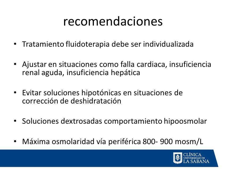 recomendaciones Tratamiento fluidoterapia debe ser individualizada Ajustar en situaciones como falla cardiaca, insuficiencia renal aguda, insuficiencia hepática Evitar soluciones hipotónicas en situaciones de corrección de deshidratación Soluciones dextrosadas comportamiento hipoosmolar Máxima osmolaridad vía periférica 800- 900 mosm/L
