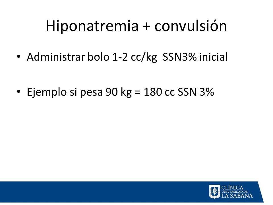 Hiponatremia + convulsión Administrar bolo 1-2 cc/kg SSN3% inicial Ejemplo si pesa 90 kg = 180 cc SSN 3%