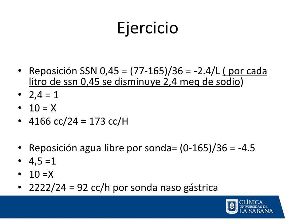 Ejercicio Reposición SSN 0,45 = (77-165)/36 = -2.4/L ( por cada litro de ssn 0,45 se disminuye 2,4 meq de sodio) 2,4 = 1 10 = X 4166 cc/24 = 173 cc/H Reposición agua libre por sonda= (0-165)/36 = -4.5 4,5 =1 10 =X 2222/24 = 92 cc/h por sonda naso gástrica