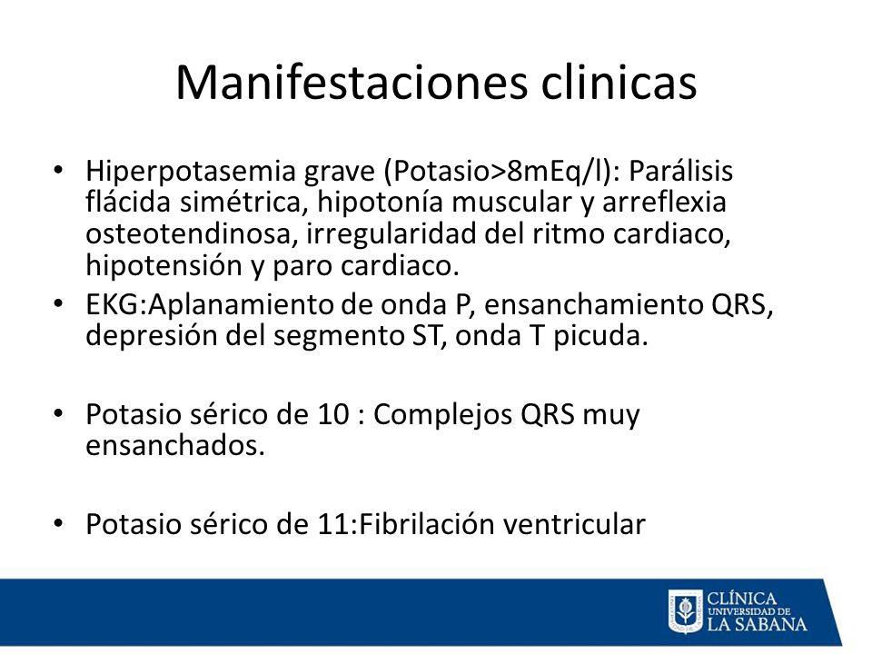 Manifestaciones clinicas Hiperpotasemia grave (Potasio>8mEq/l): Parálisis flácida simétrica, hipotonía muscular y arreflexia osteotendinosa, irregularidad del ritmo cardiaco, hipotensión y paro cardiaco.