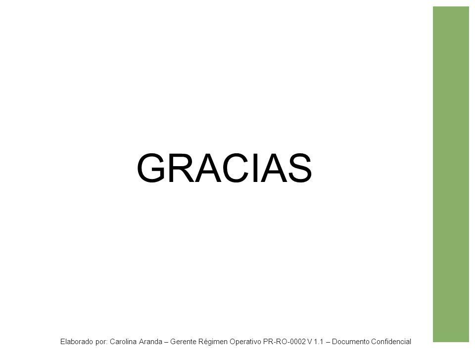 GRACIAS Elaborado por: Carolina Aranda – Gerente Régimen Operativo PR-RO-0002 V 1.1 – Documento Confidencial