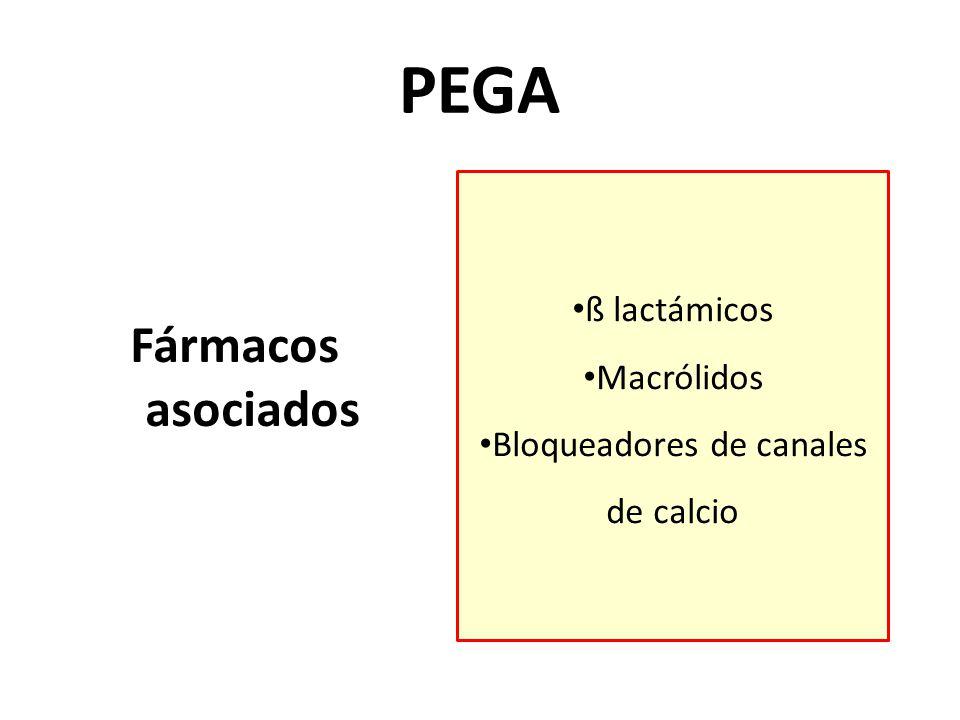 Fármacos asociados PEGA ß lactámicos Macrólidos Bloqueadores de canales de calcio