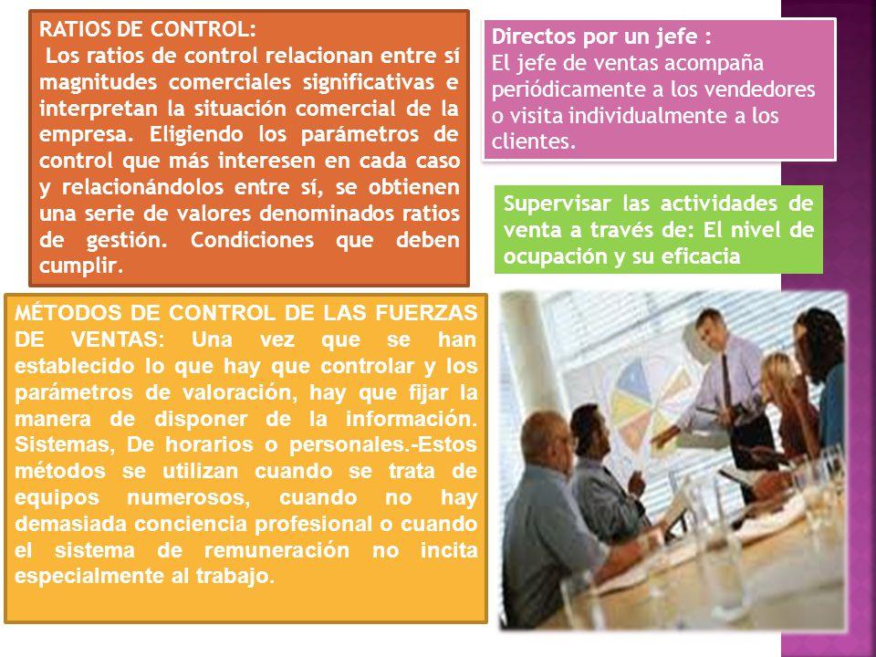 RATIOS DE CONTROL: Los ratios de control relacionan entre sí magnitudes comerciales significativas e interpretan la situación comercial de la empresa.