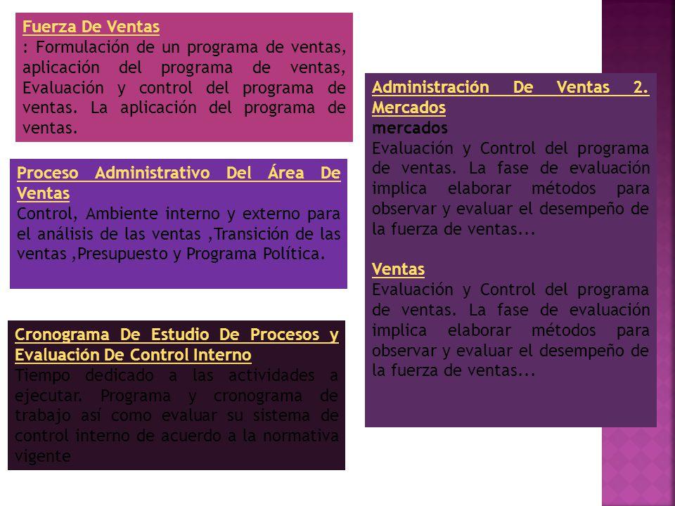 Fuerza De Ventas : Formulación de un programa de ventas, aplicación del programa de ventas, Evaluación y control del programa de ventas.