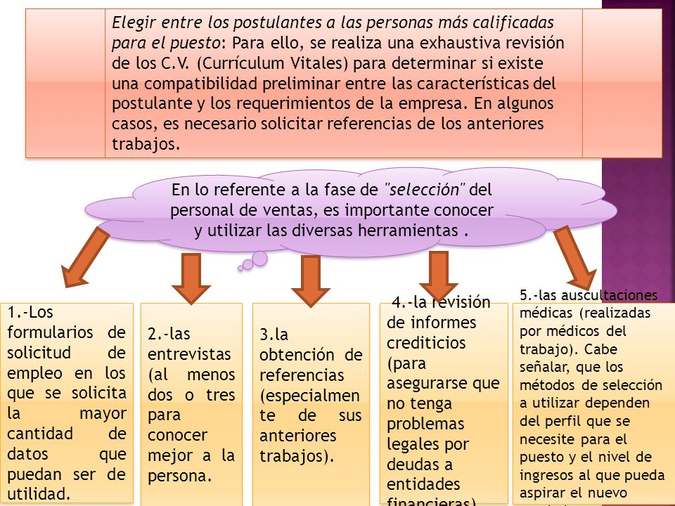 Elegir entre los postulantes a las personas más calificadas para el puesto: Para ello, se realiza una exhaustiva revisión de los C.V. (Currículum Vita