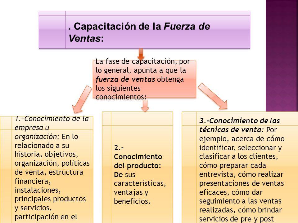 . Capacitación de la Fuerza de Ventas: La fase de capacitación, por lo general, apunta a que la fuerza de ventas obtenga los siguientes conocimientos: