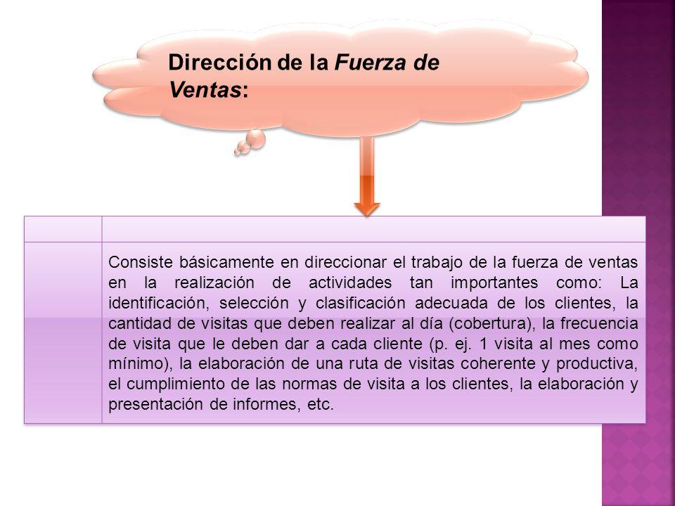 Dirección de la Fuerza de Ventas: Consiste básicamente en direccionar el trabajo de la fuerza de ventas en la realización de actividades tan important