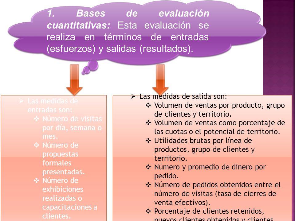 1. Bases de evaluación cuantitativas: Esta evaluación se realiza en términos de entradas (esfuerzos) y salidas (resultados).  Las medidas de entradas