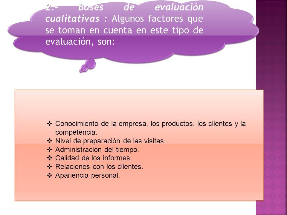 2.- Bases de evaluación cualitativas : Algunos factores que se toman en cuenta en este tipo de evaluación, son:  Conocimiento de la empresa, los productos, los clientes y la competencia.